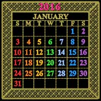 Calendar 2016 Quilt Blocks Machine Embroidery Designs 5x7 hoop