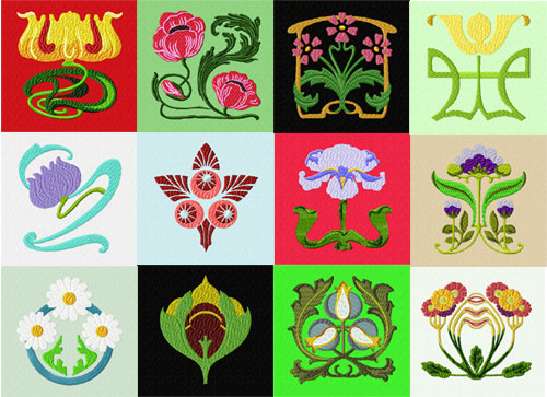 Art Nouveau 12 Machine Embroidery Designs set 4x4