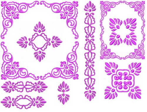 Barocco Ornaments Machine Embroidery Designs set