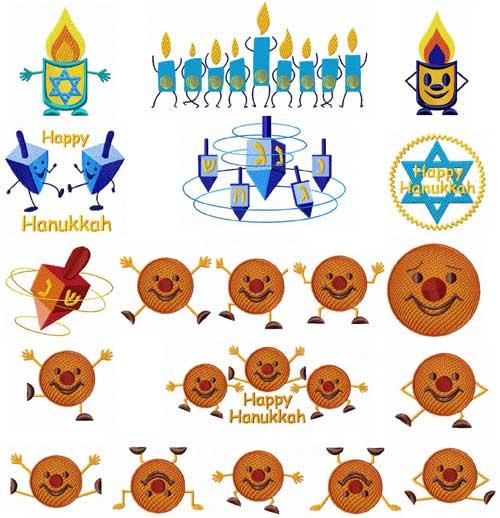 Dancing Hanukkah (Chanukkah) 20 Machine Embroidery Designs set