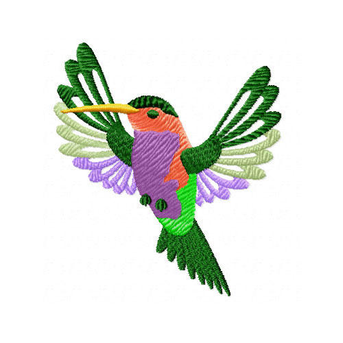 4 Hobby Machine Embroidery Designs Birds Hummingbird And