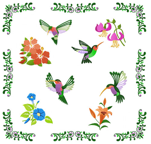 Hummingbird and Flowers 10 Machine Embroidery Designs set 4x4