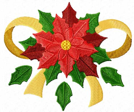 Free on Free Christmas Machine Embroidery Design  Poinsettia With Ribbon