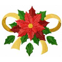Free Christmas Motif: Poinsettia Machine Embroidery Design