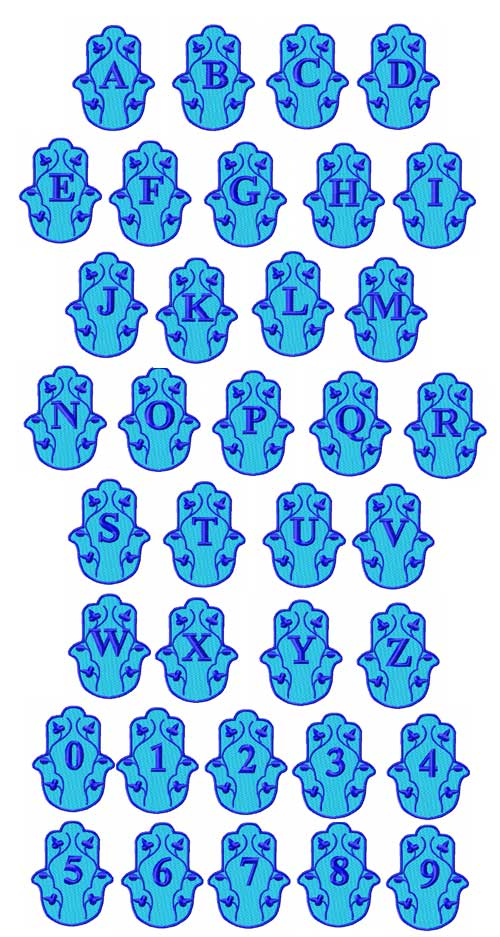 Hamsa Alphabet Font Machine Embroidery Designs 4x4