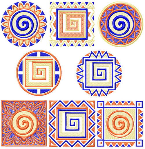4 Hobby Machine Embroidery Designs Quilt Blocks African