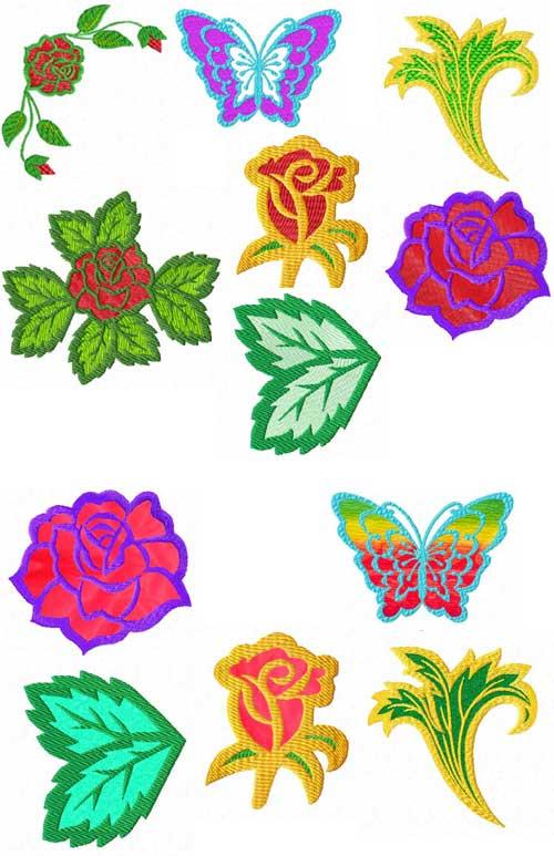 Art Deco Summer Applique Machine Embroidery Designs Set 4x4 hoop
