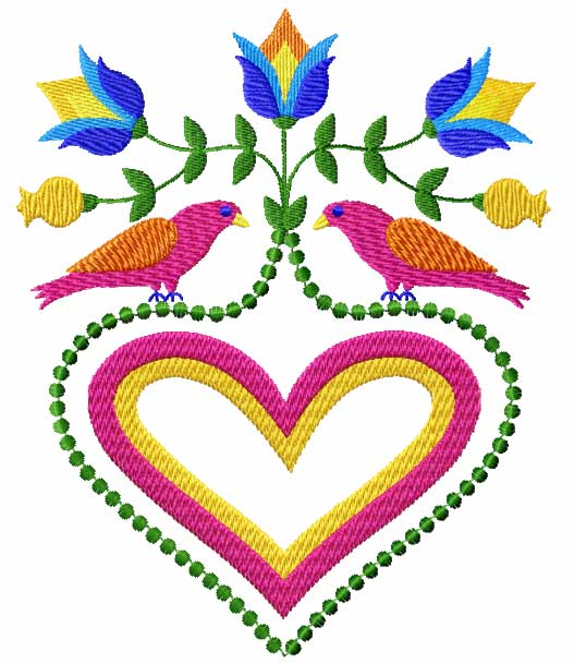 4 Hobby Machine Embroidery Designs Flowers Birds Hearts