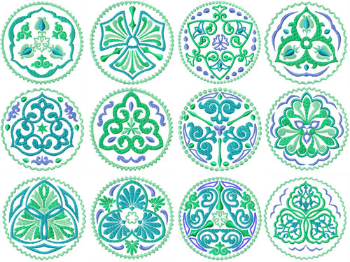 Oriental Quilt Blocks 12 Machine Embroidery Designs 4x4 and 5x5
