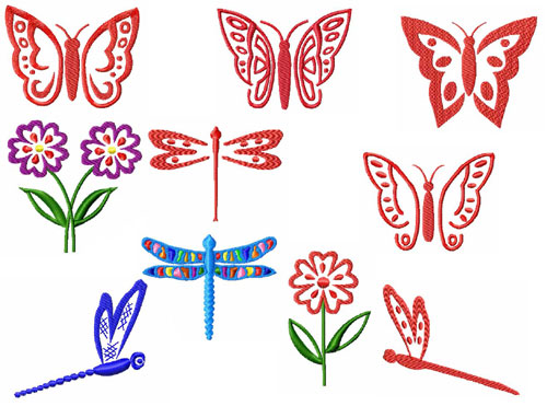 Butterflies and Dragonflies Machine Embroidery Designs set 4x4