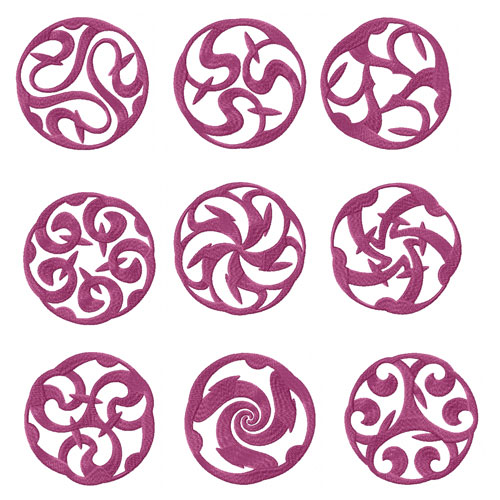 Celtic Motiffs 9 Redwork and Machine Embroidery Designs set 4x4, 2x2