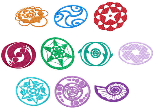 Crop Circles Ornaments Machine Embroidery Designs set 4x4