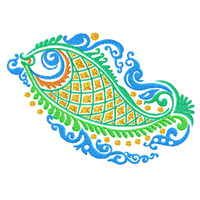 Ethnic Fish Ornaments Machine Embroidery Designs set 5x7 hoop