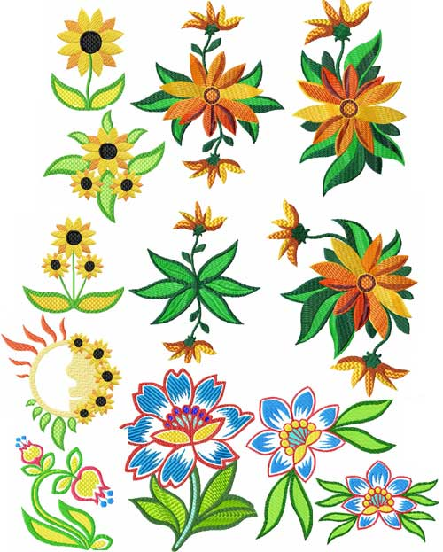 Summer Flowers 12 Machine Embroidery designs set