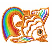 Rainbow Chinese Gold Fish 12 Machine Embroidery Designs set 4x4