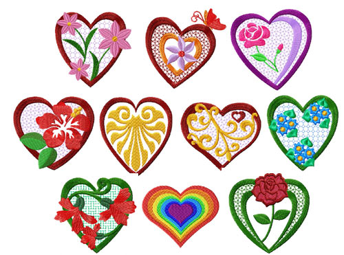 Hearts and Flowers 10 Machine Embroidery Designs set 4x4