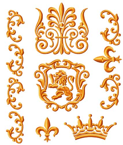 Lion and Borders 6 Machine Embroidery Designs set