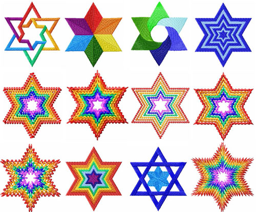 Stars of David 12 Machine Embroidery Designs set 4x4