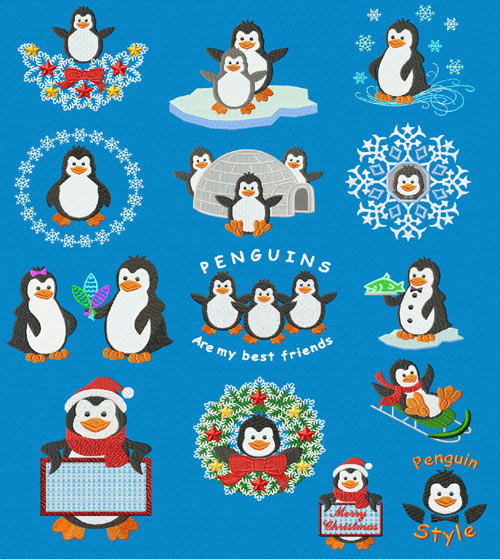 Christmas Motifs: Penguin 14 Machine Embroidery Designs set 5x7