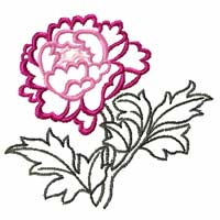 Free Chinese Peony Machine Embroidery Design