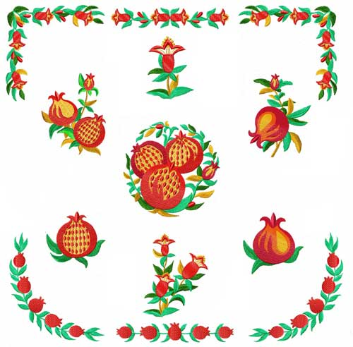 Pomegranates Machine Embroidery Designs