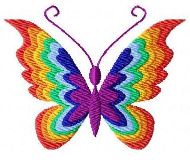 4 Hobby Machine Embroidery Designs Butterflies Rainbow