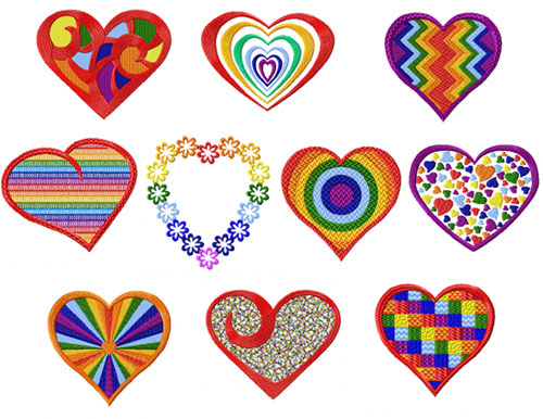 Rainbow Hearts 10 Machine Embroidery Designs set 4x4