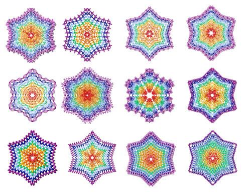 Rainbow Snowflakes 12 Machine Embroidery Designs set 4x4