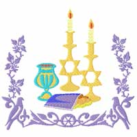 Shabbath Machine Embroidery Designs set for Challah Covers, Tablecloths