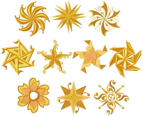 Gold Stars 10 Machine Embroidery Designs set 4x4