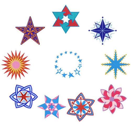 Stars 10 Machine Embroidery Designs set 4x4