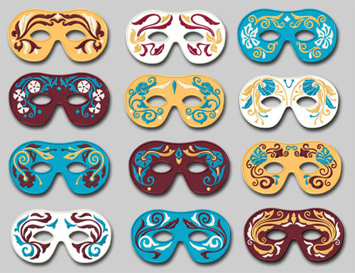 Carnival Masks 12 Machine Embroidery Designs set