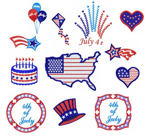 4th of July 12 Machine Embroidery Designs set