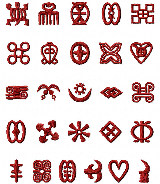 Africa Adinkra Symbols Machine Embroidery Designs set 4x4 and 1x1