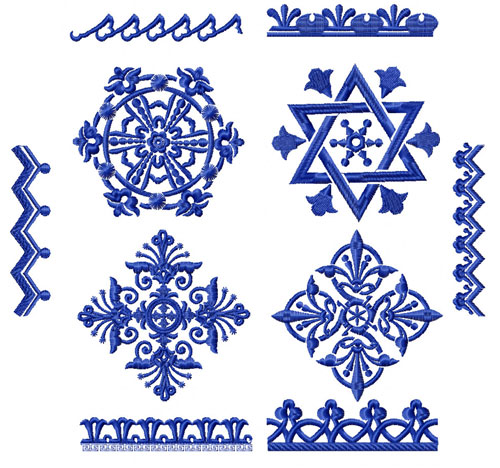 Blue Ornaments 10 Machine Embroidery Designs set 4x4
