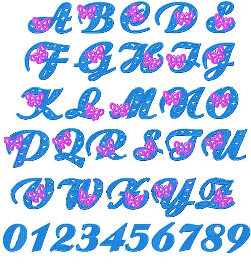 Butterfly Alphabet Font Machine Embroidery Designs set 4x4