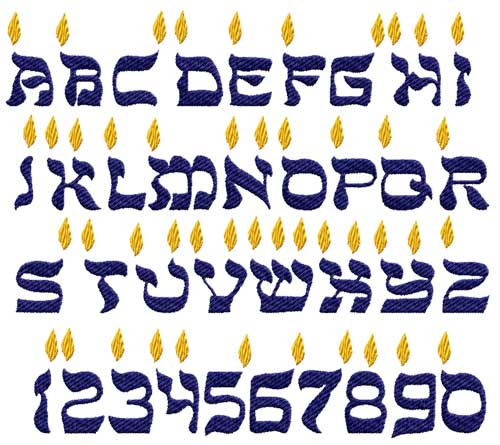 Candles Alphabet Hebrew-Style Font Machine Embroidery Designs 4x4