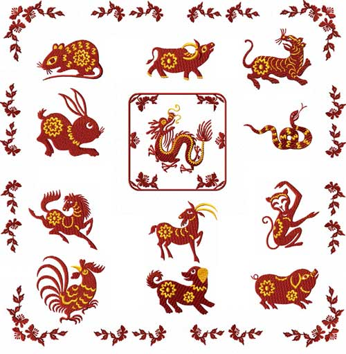 Chinese Zodiac Machine Embroidery Designs set 4x4