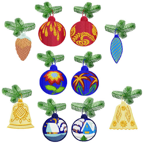 Christmas Baubles 10 Machine Embroidery Designs set 4x4