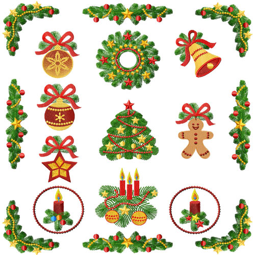 Christmas Tree Motifs Machine Embroidery Designs set