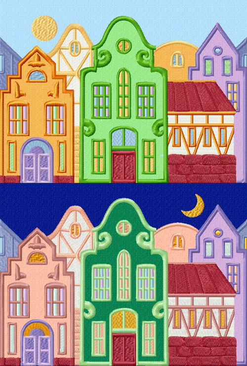 Day and Night: Fantasy Town 2 Applique Embroidery Designs set