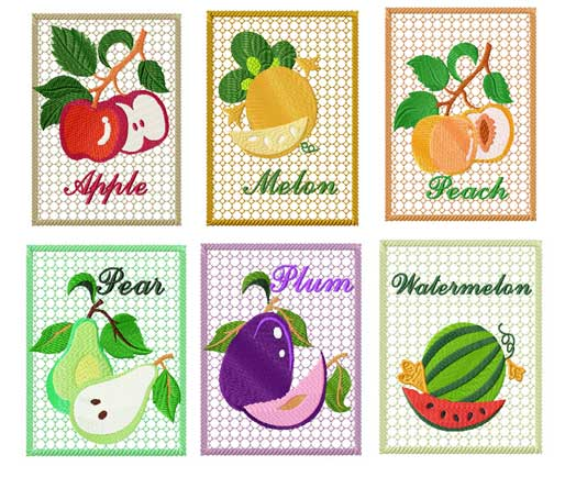 Decorative Fruits Machine Embroidery Designs Set 5x7