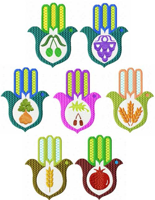 Seven Spices Dove Hamsa Machine Embroidery Designs set 4x4 + Napkin Rings