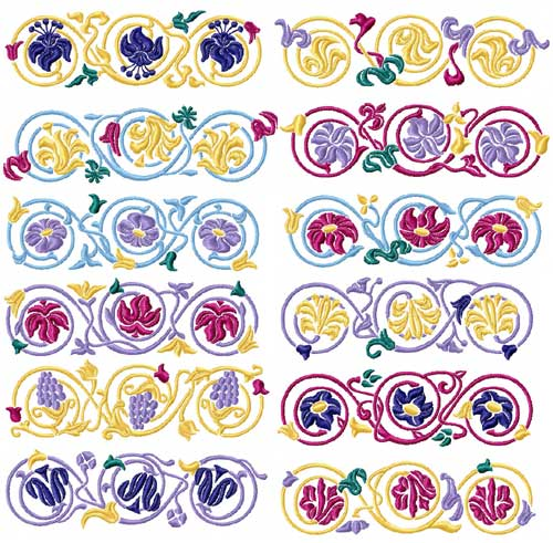 Elegant Borders 12 Machine Embroidery Designs Set 5x7