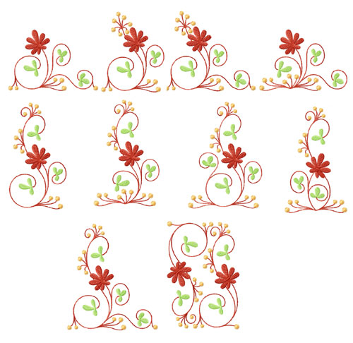 Elegant Flowers Ornaments 10 Machine Embroidery Designs Set 5x7
