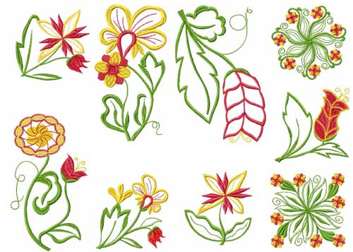 Fantasy Flowers Machine Embroidery Designs 5x7