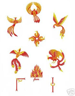 Feng Shui Fenix (Phoenix) Machine Embroidery Designs set 5x7