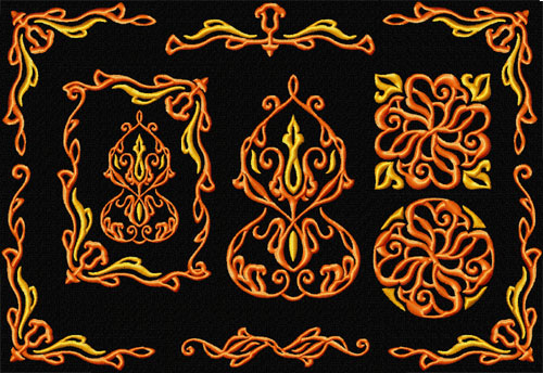 Flame Ornaments 8 Machine Embroidery Designs Set