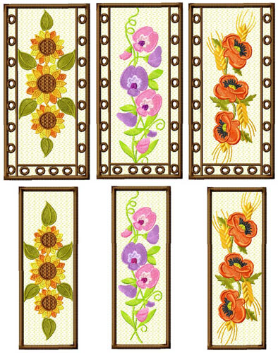 Bookmarks and Glass Cases Machine Embroidery Designs Set