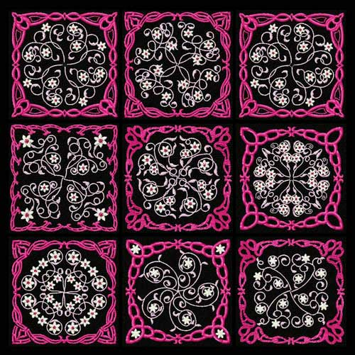 Flowers Motifs 9 Quilt Blocks Machine Embroidery Designs 4x4